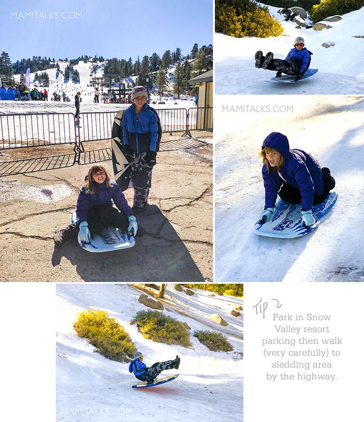 Tip to go sledding around Big Bear. -MamiTalks.com
