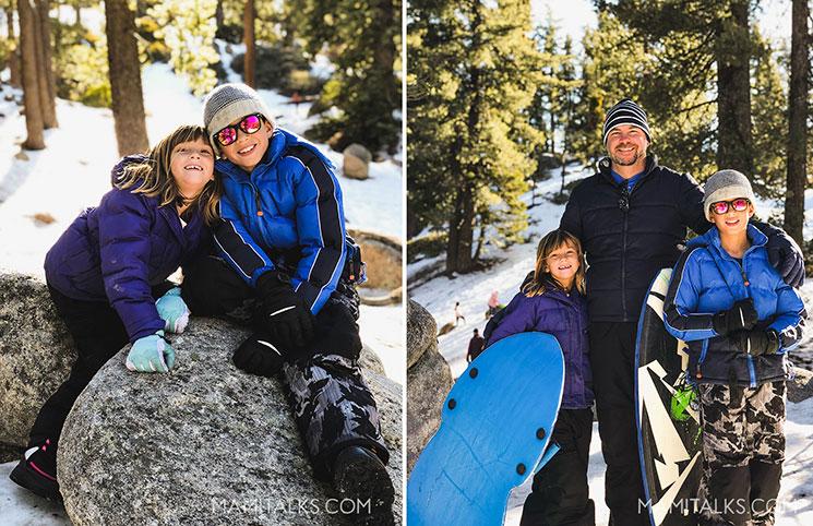 Winter portraits in big bear, dad and kids -MamiTalks.com