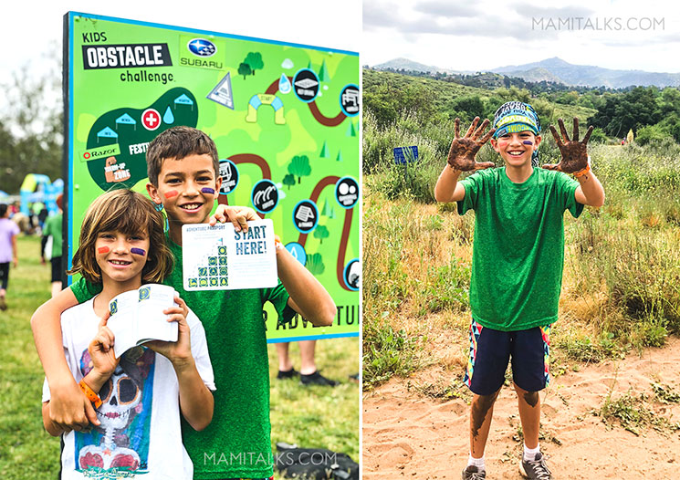Kids obstacle challenge map and muddy hands. mamitalks.com