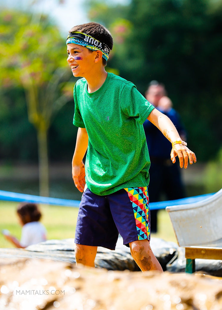 Muddy kid at race -mamitalks.com