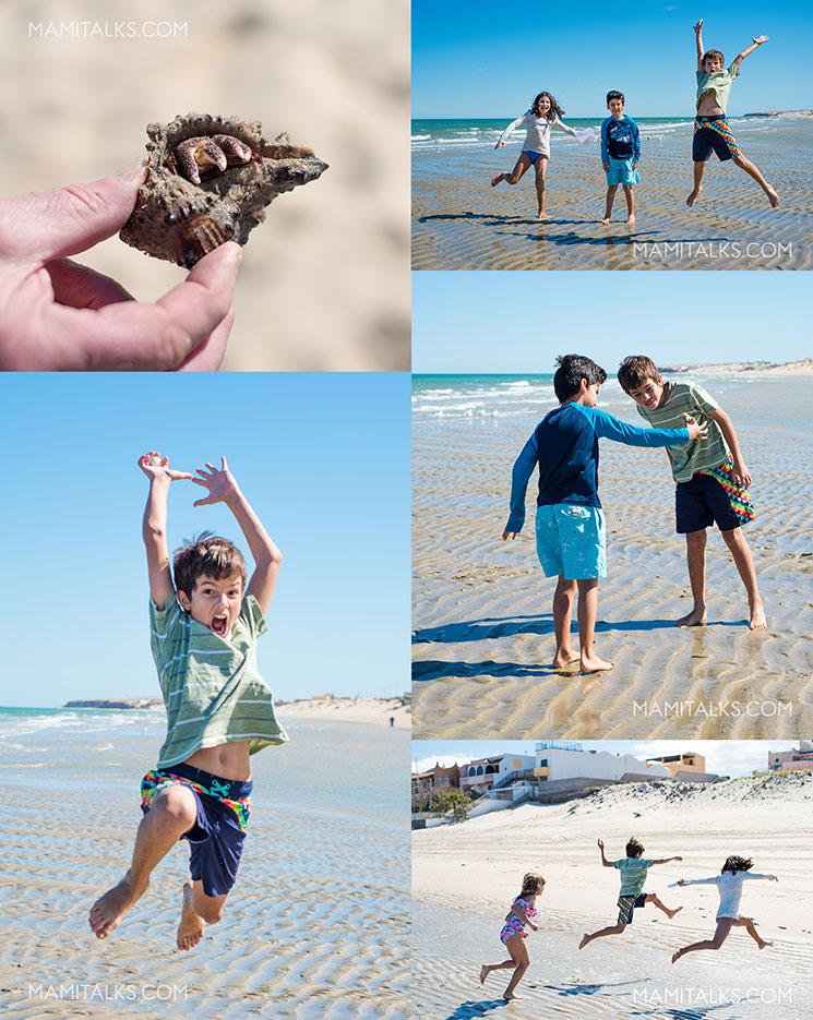 Kids having fun at the beach San Felipe Mexico, collage of photos. MamiTalks.com