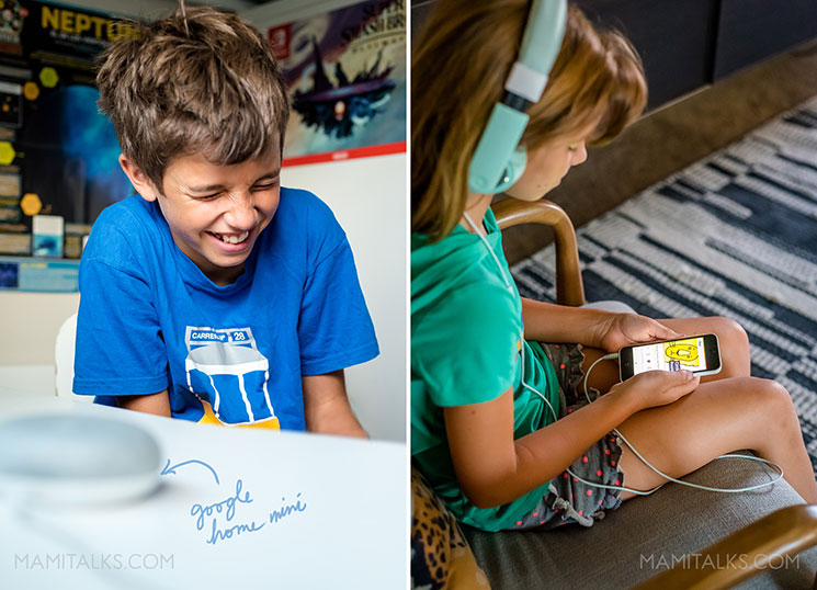 Kids listening to favorite podcasts for tweens. -MamiTalks.com
