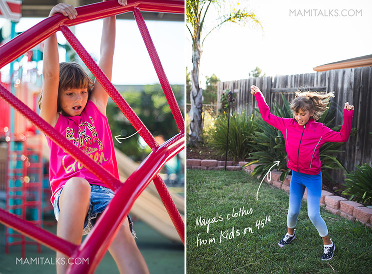 Girl dressed with pink playing in park, new way to shop kids clothes. MamiTalks.com