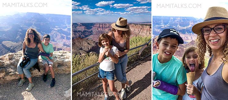 Family eating ice cream at the Grand Canyon. -MamiTalks.com