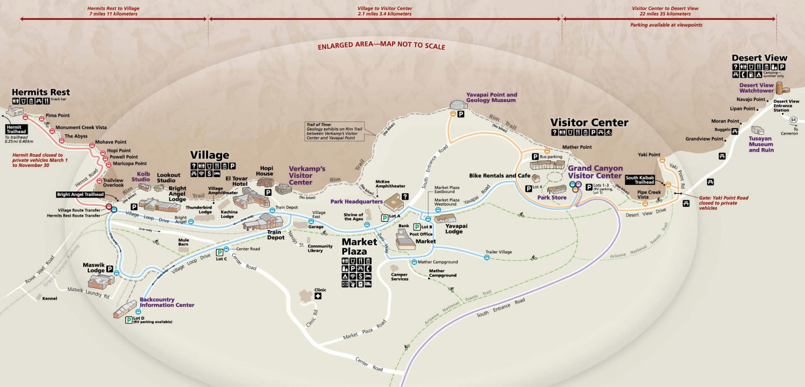 South rim map of the grand canyon. -MamiTalks.com