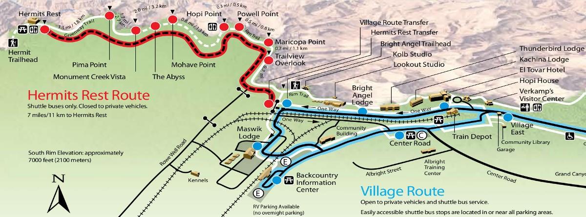 Hermits road map Grand Canyon South Rim. -MamiTalks.com
