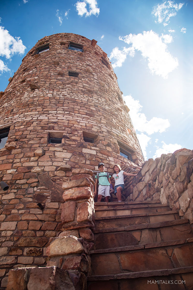 Desert View Tower South Rim Gran Canyon, 2 kids in front of desert view tower. -MamiTalks.com