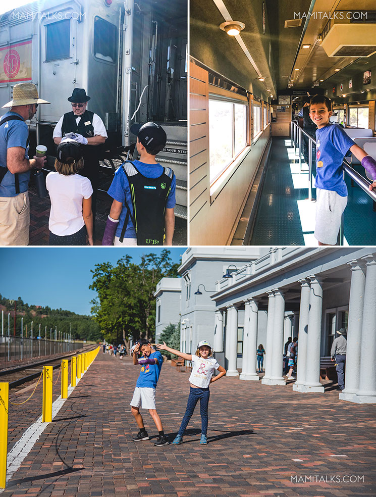 Family getting on Grand Canyon railway. -MamiTalks.com