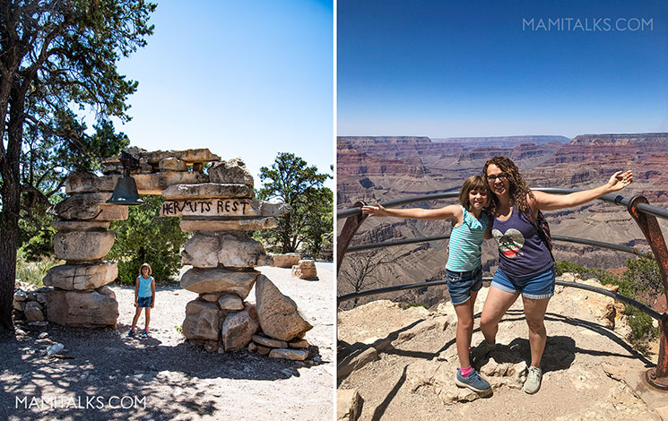 Hermits rest road, mom and daughter posing at the Grand Canyon. -MamiTalks.com