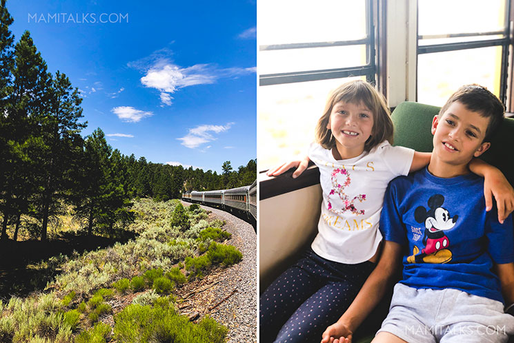 Family travel to Grand Canyon, south rim, boy and girl inside train and view of the train. -MamiTalks.com