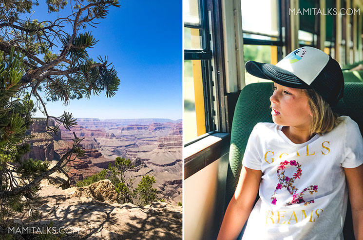 Family travel to Grand Canyon, girl inside train looking out the window. -MamiTalks.com