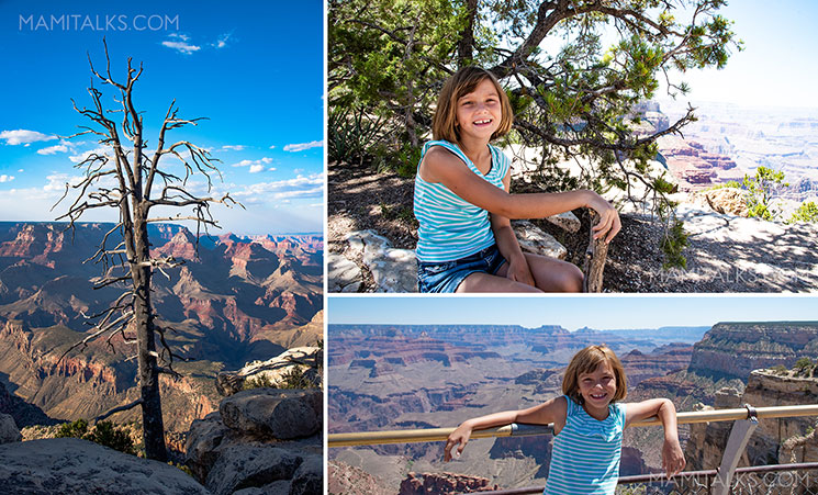 Family travel to Grand Canyon, south rim, girl posing in front. -MamiTalks.com