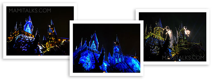 Hogwarts castle light show. Holidays at Universal Studios Holywood -MamiTalks.com