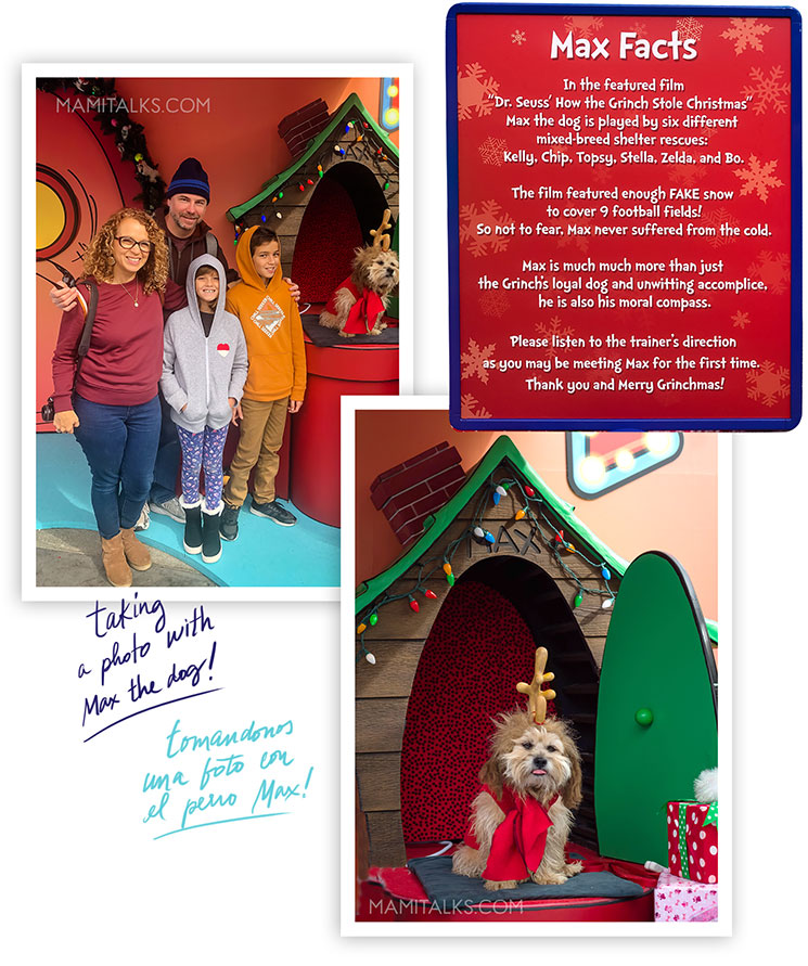 Family taking pictures with Max the dog, Grinchmas. Holidays at Universal Studios Holywood -MamiTalks.com