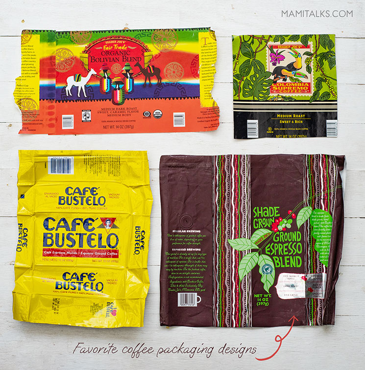 Coffee packaging samples. MamiTalks.com
