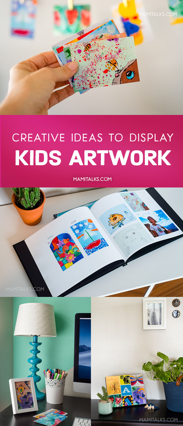 Creative Ideas to display kids' art, make photo books, print them little and hang them with pins, print them and frame them. -MamiTalks.com