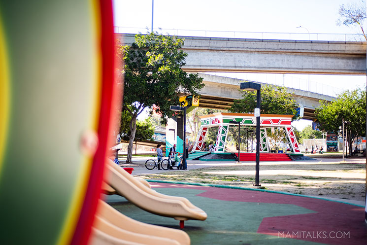 View of Chicano Park event dome from the playground. -MamiTalks.com