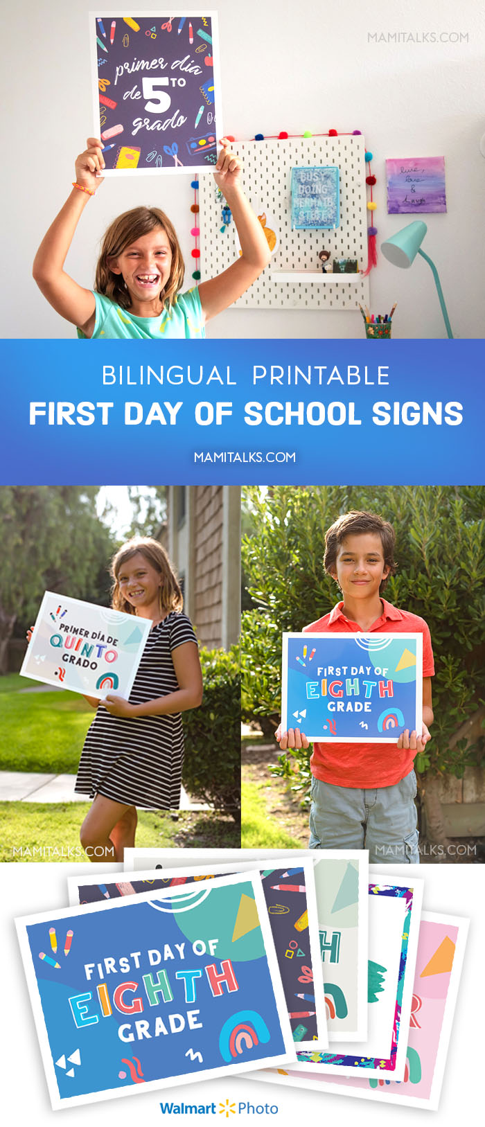 First day of school signs with kids showing them, MamiTalks.com