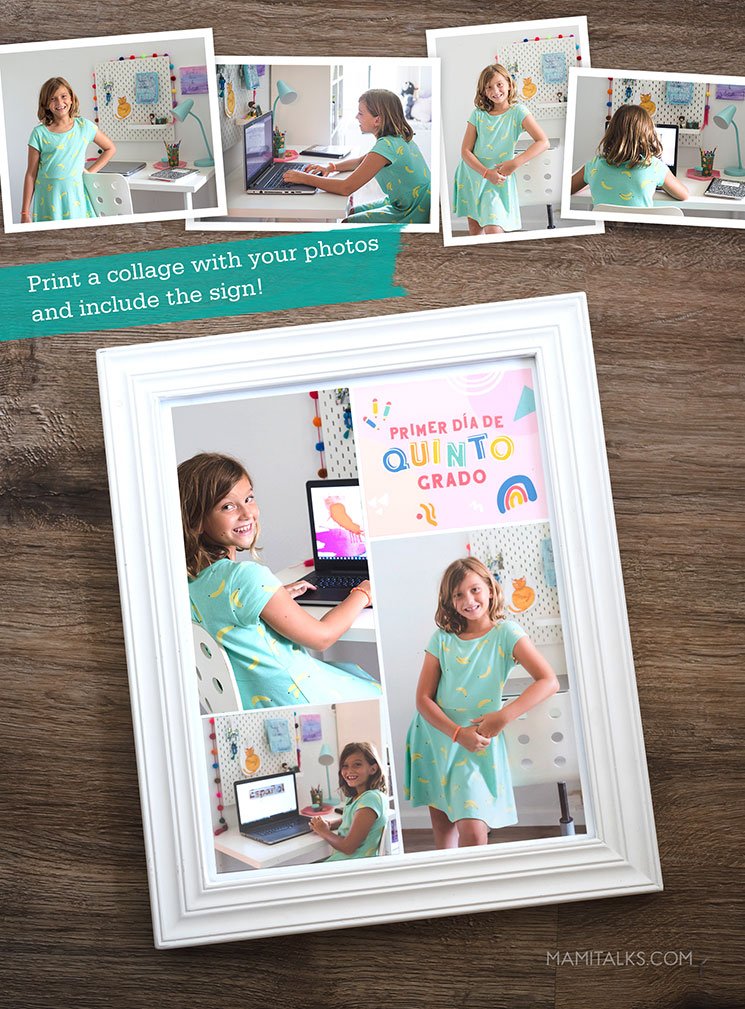Colage of first day of school photos. MamiTalks.com