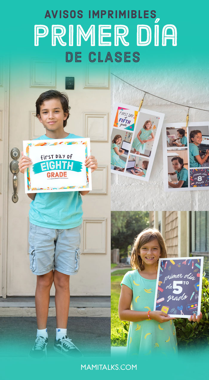 Kids showing Bilingual first day of school signs. MamiTalks.com