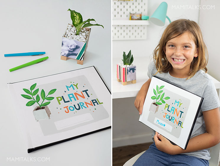 Plant journal for kids, gitl holding it. MamiTalks.com
