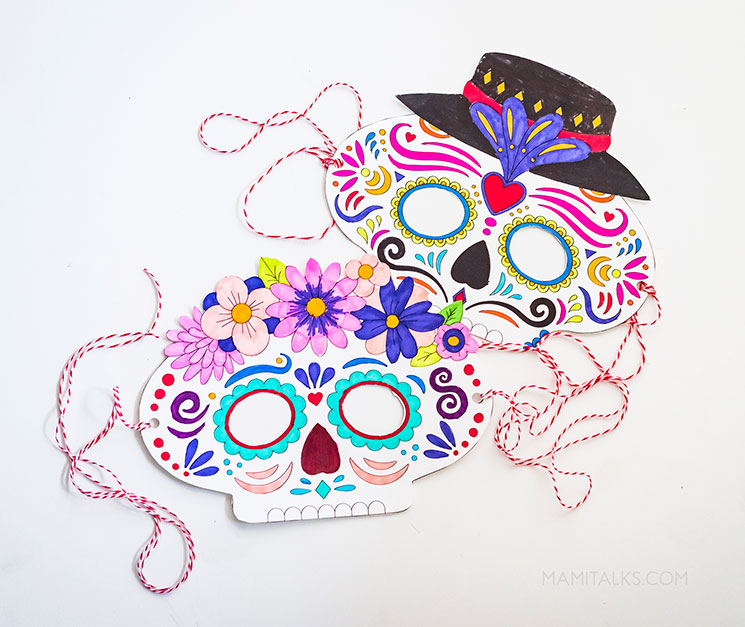 2 day of the dead masks colored and ready. -MamiTalks.com