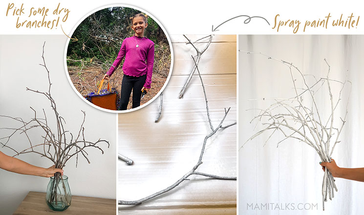 Collecting branches and painting them white. -MamiTalks.com